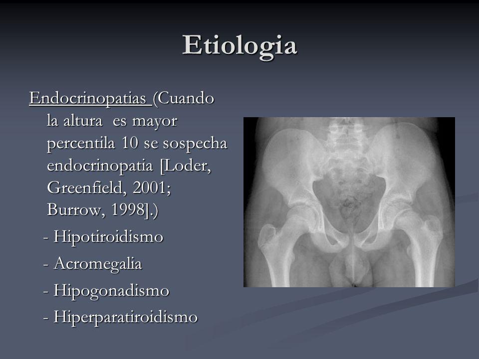 Etiologia Endocrinopatias (Cuando la altura es mayor percentila 10 se sospecha endocrinopatia [Loder, Greenfield, 2001; Burrow, 1998].)